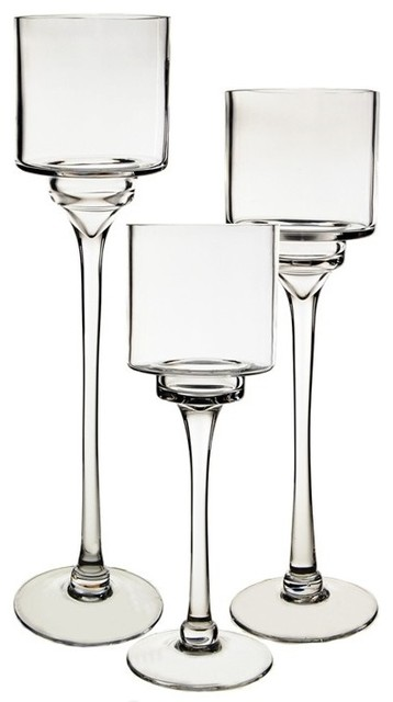 Gl Pedestal Candle Holders Set Of 3 Contemporary