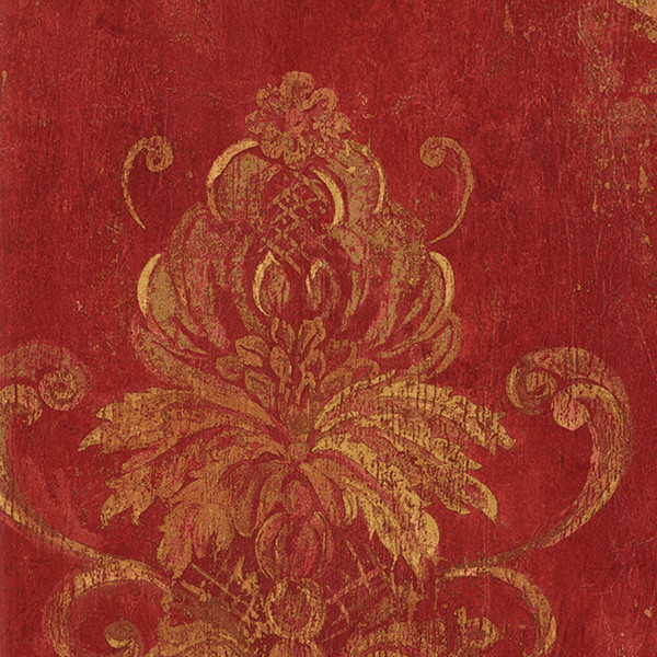 Damask red and gold cs27328 wall covering wallpaper for Red wallpaper designs for walls