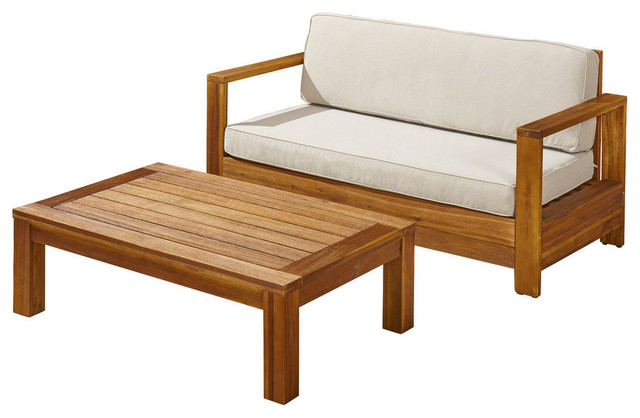 Surprising Gdf Studio Hannah Outdoor Acacia Wood Loveseat And Coffee Table Set Light Beige Unemploymentrelief Wooden Chair Designs For Living Room Unemploymentrelieforg