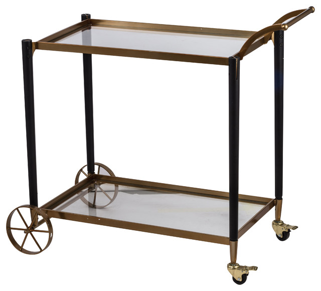 Modern Chic Gold and Black Metal Cart 36x19x35 by A&B Home
