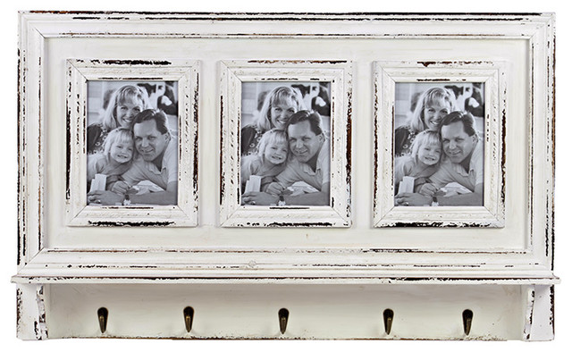 Antique Style Aged White Wood Triple Photo Frame Metal Hooks Wall Decor