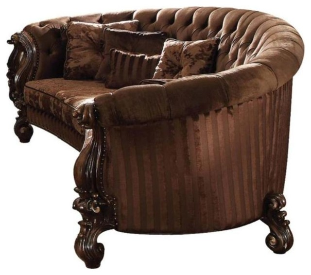 Traditional Velvet and Poly Resin Button Tufted Sofa with 5 Pillows, Brown