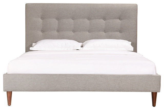 Monty Upholstered Bed, Gray, Queen.