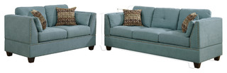 Casoria Loveseat and Sofa Upholstered Velvet Fabric, 2-Piece Set