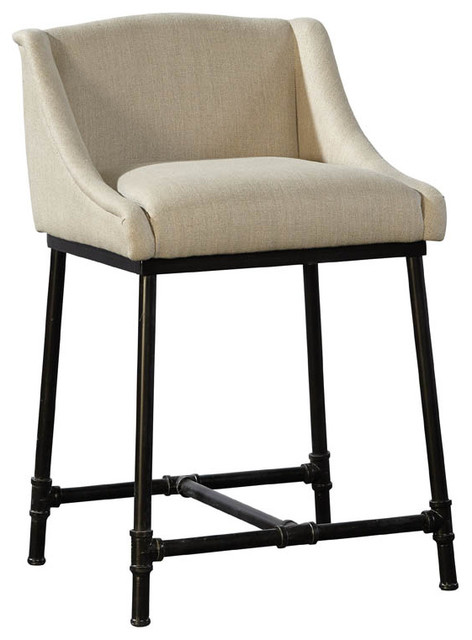 Terrific Linen Iron Pipe Counter Stool Gmtry Best Dining Table And Chair Ideas Images Gmtryco