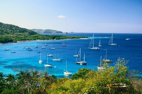 Sailboats bay of mustique photo wall mural contemporary for Bay view wall mural