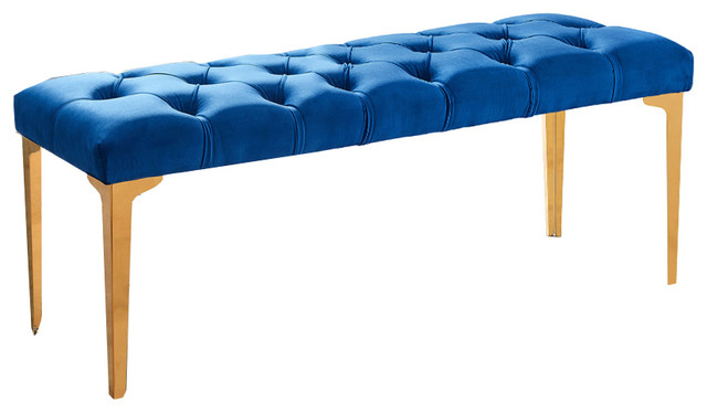 Dwellist Peyton Bench, Blue Velvet And Gold Stainless Steel.