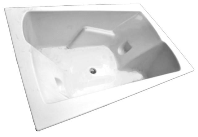 American Acrylic And Injection Armrest Corner Soaking Tub, White.