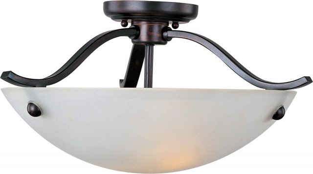 two light oil rubbed bronze frosted glass bowl semi-flush mount