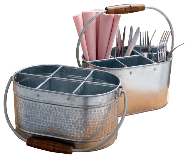 2-Piece Galvanized Metal Bottle And Utensil Holder Set