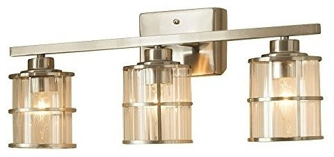 Allen Roth 3 Light Kenross Brushed Nickel Bathroom Vanity Light Transitional Bathroom Vanity Lighting By Ami Ventures Inc Houzz