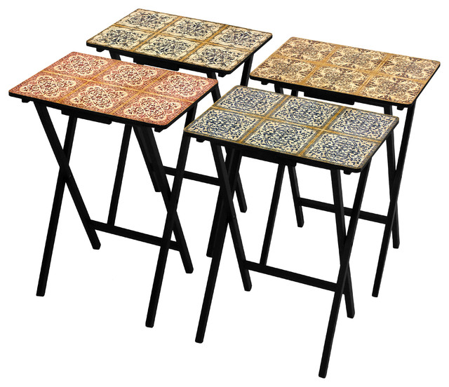 Oriental Furniture - Victorian Tile TV Tray Set With Stand, 4-Piece Set - View in Your Room! | Houzz
