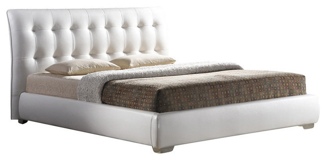Baxton Studio Jeslyn White Modern Bed With Tufted Headboard, King.