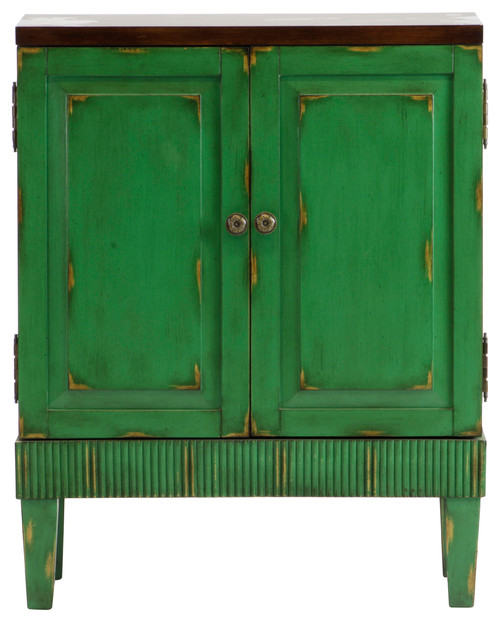 Callie Hand Painted Distressed Green Wooden Accent Cabinet