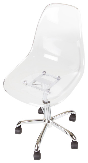 South Shore Clear Acrylic Office Chair With Wheels contemporary-office- chairs