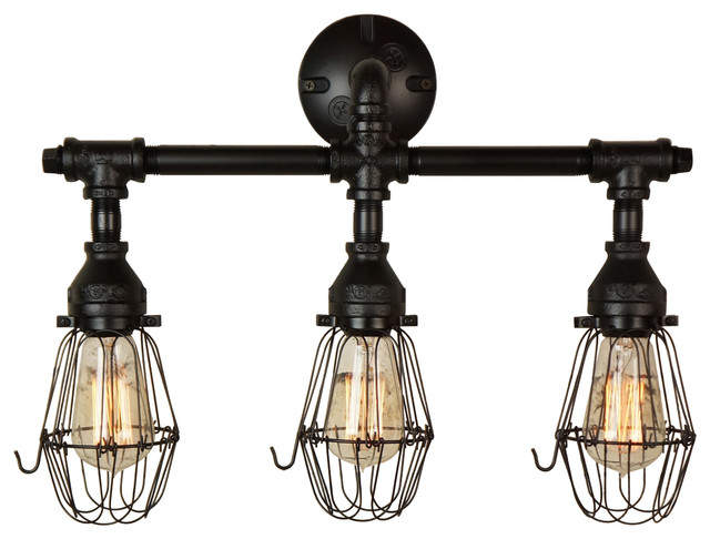 Bathroom Light Fixtures Black Finish nelson 3-light vanity fixture finished in matte black - industrial