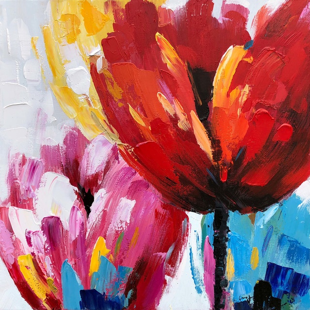 Red Flowers IV Hand Painted Wall Art