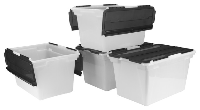 Flip-Top Storage Tub, Frost/black (case Of 4).