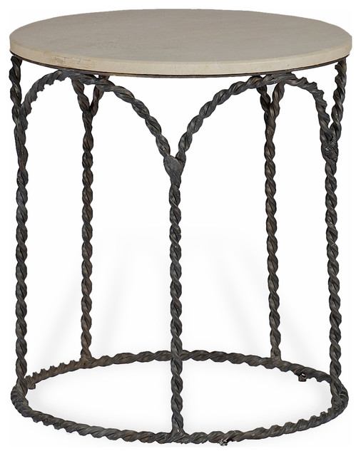 Bradley Rustic Braided Iron French Country Cream Limestone Side End Table  Transitional Side Tables