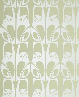 Barbara Hulanicki Wallpaper - Hula Pattern - in Soft Green Swatch