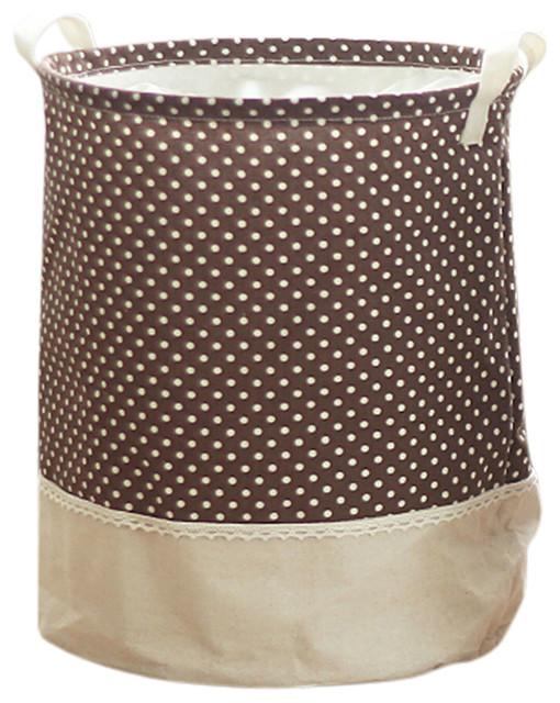 Household Folding Laundry Basket, Dot Brown.