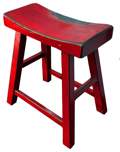 Hong Design Colored Solid Wood Saddle Bar Stool Bar
