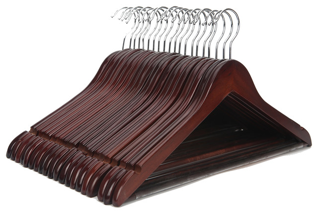 Wooden Suit Hangers, Set of 20, Walnut and Polished Chrome