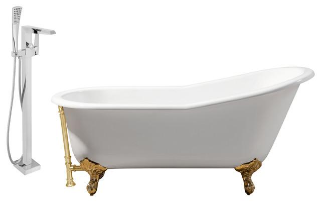 "Streamline 67"" Faucet And Cast Iron Tub Set, Gold Popup Drain, Showerhead H-100."