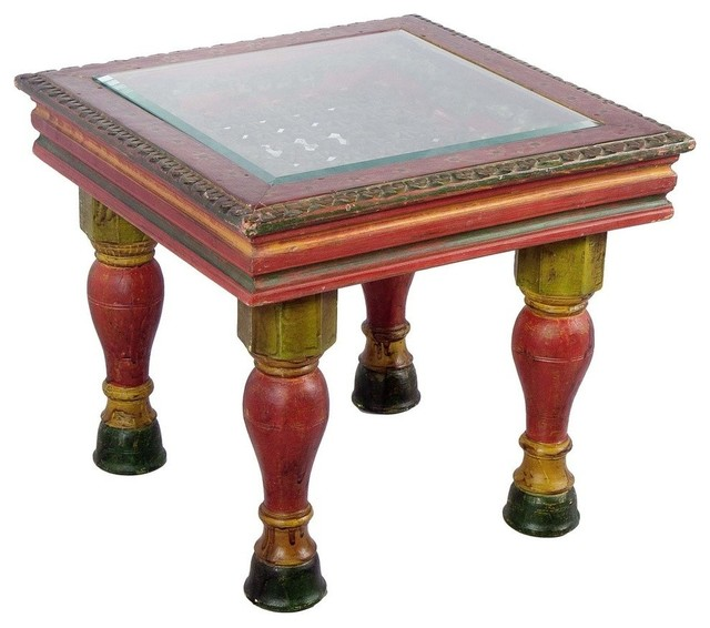 Hand Painted Wooden Carved Coffee Table With Glass Top