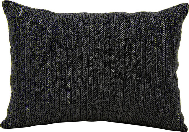 Black Beaded Throw Pillow : Nourison Beaded Stripes Pillow - Decorative Pillows Houzz