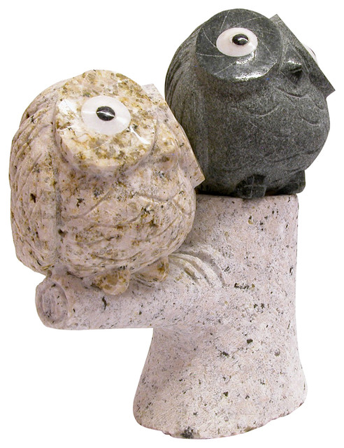 T trove granite stone owls on treetops view in your for Modern decorative objects