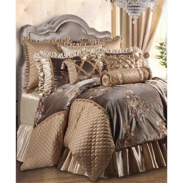 Legacy 9 Piece Queen Comforter Set Taupe Traditional