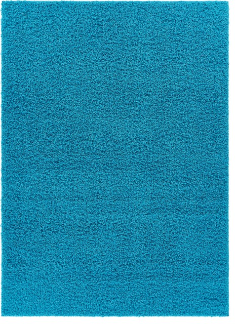 Well Woven Tacoma Enchanting Turquoise Modern Solid Shag Area Rug Ta-14, 5&x27; X 7&x27;.