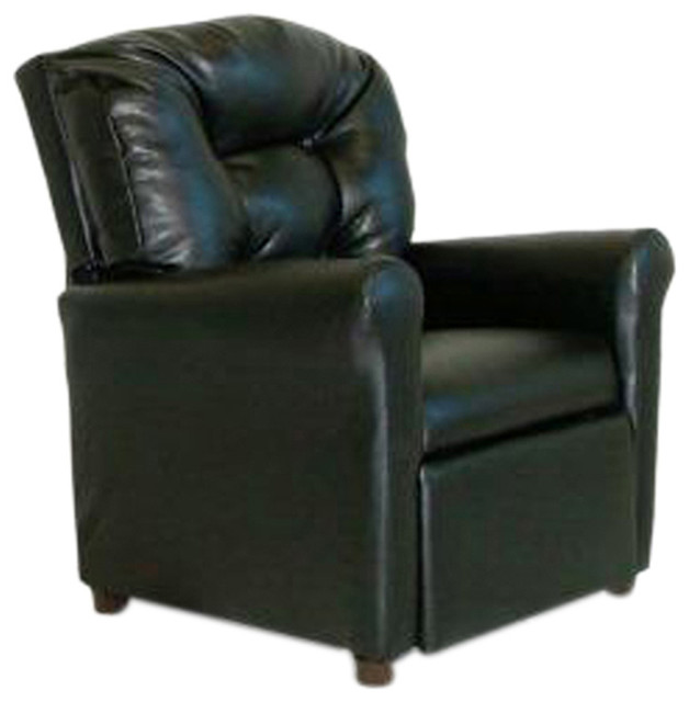 Dozydotes Child Recliner With Cup Holder, Black Leather