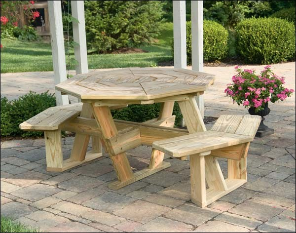 """48"""" Treated Pine Octagon Walk-In Picnic Table"""