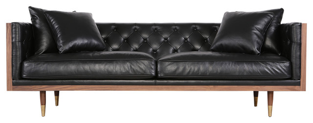 Kardiel Woodrow Neo Classic Midcentury Modern Sofa, Aniline Leather ...
