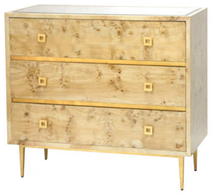 Worlds Away Hudson Mirrored Top Dresser, Burlwood/Gold