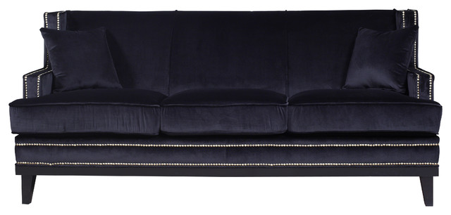 Superbe Velvet Sofa With Nailhead Trim, Black