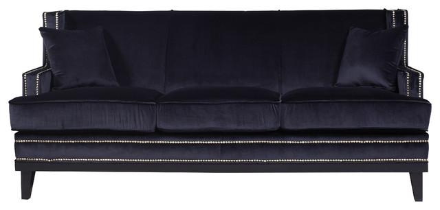 Divano Roma Furniture Modern Soft Velvet With Nailhead