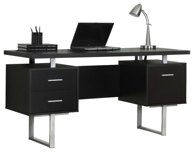 """Monarch Specialties Computer Desk, 60"""", Cappuccino, Silver Metal, I7080"""