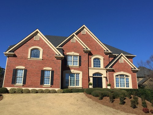 Help selecting paint for stucco trim for red orange brick for Stucco and trim color combinations