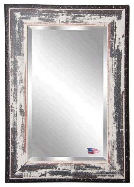 Beveled Wall Mirror american made distressed rustic ivory & black rivet trim beveled