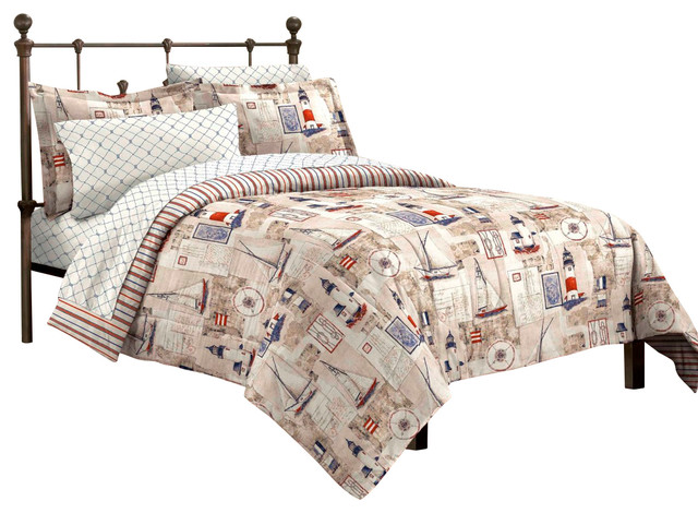 Cape Cod Sailing Nautical Comforter Set Traditional