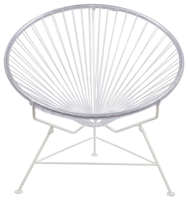 Innit Vinyl Cord Chair With White Frame, Clear