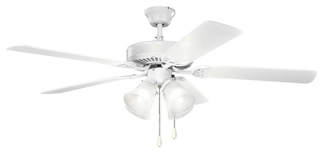 "Kichler Basics Ceiling Fan With Light, Matte White, 52""."