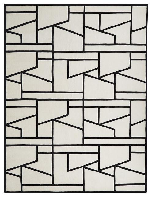 Zig Zag Rug, Ivory/Black, 6'x9'