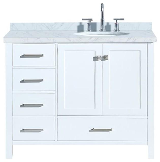 "Cambridge 43"" Bath Vanity, White With Marble Top, Carrara White/white Basin."