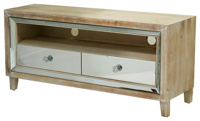Avery 2-Drawer Mirrored Tv Stand, White Washed.