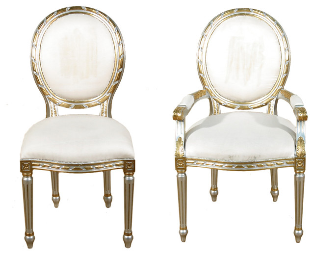 White And Gold Dining Chairs: Set Of 10 Silver Gold Balloon Back White Muslin Dining