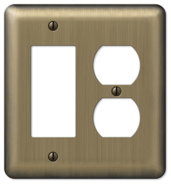 Devon Steel 1 Rocker Duplex Wall Plate Brushed Br